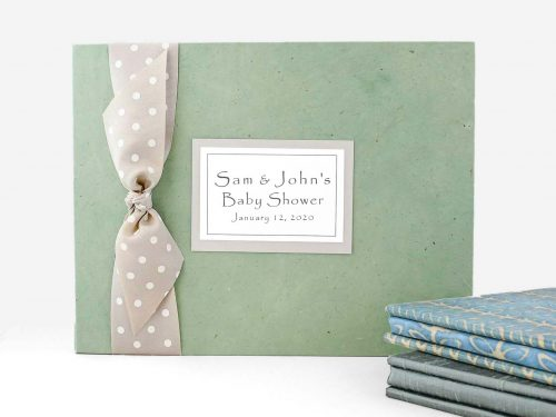 Seafoam paper cover with grey dot ribbon and plaque