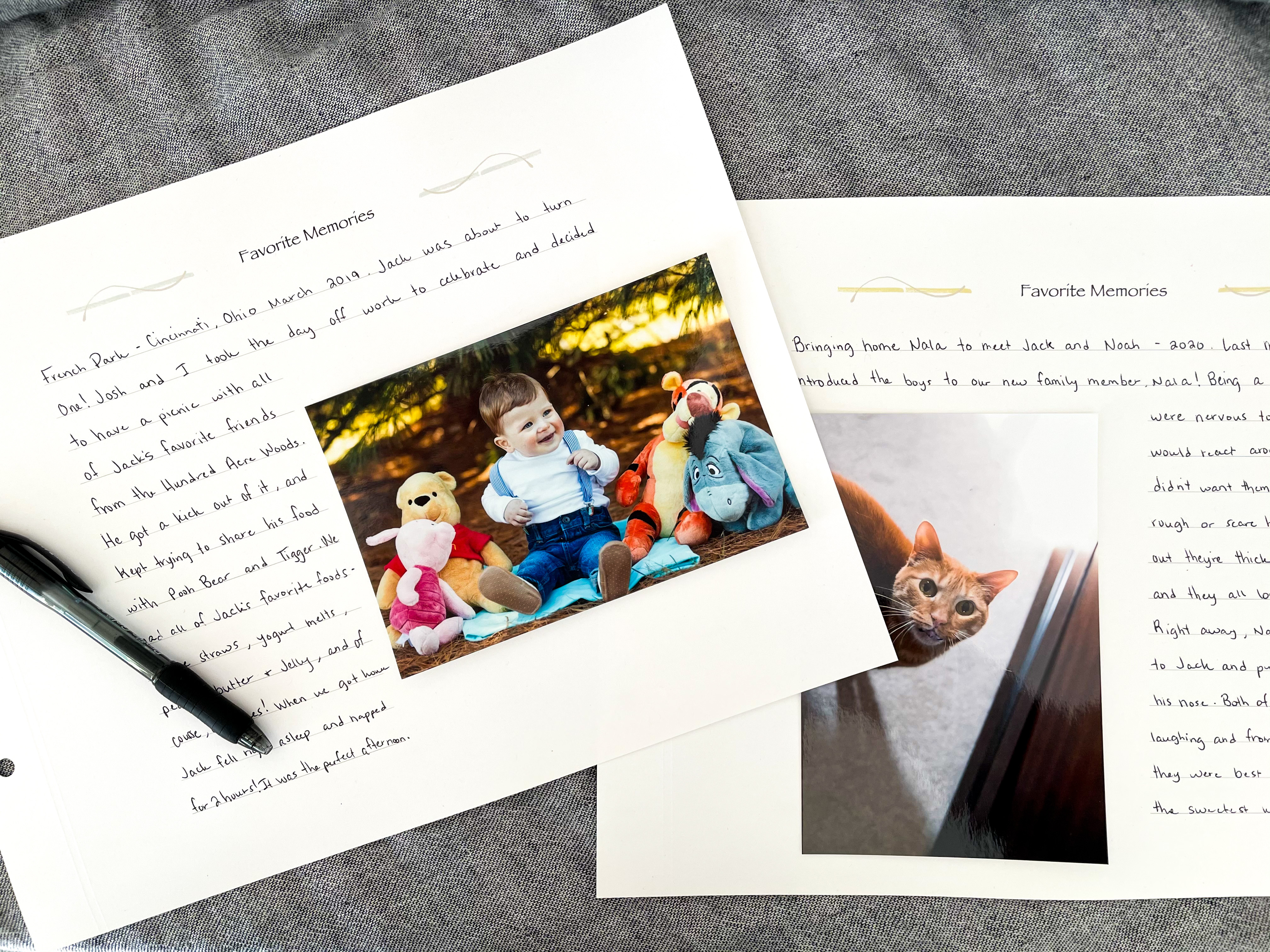 Favorite Memories Additional Insert Pages. How to easily document childhood memories