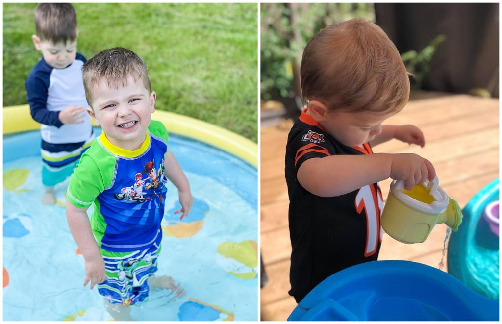 Toddlers playing in an inflatable pool and at a water table