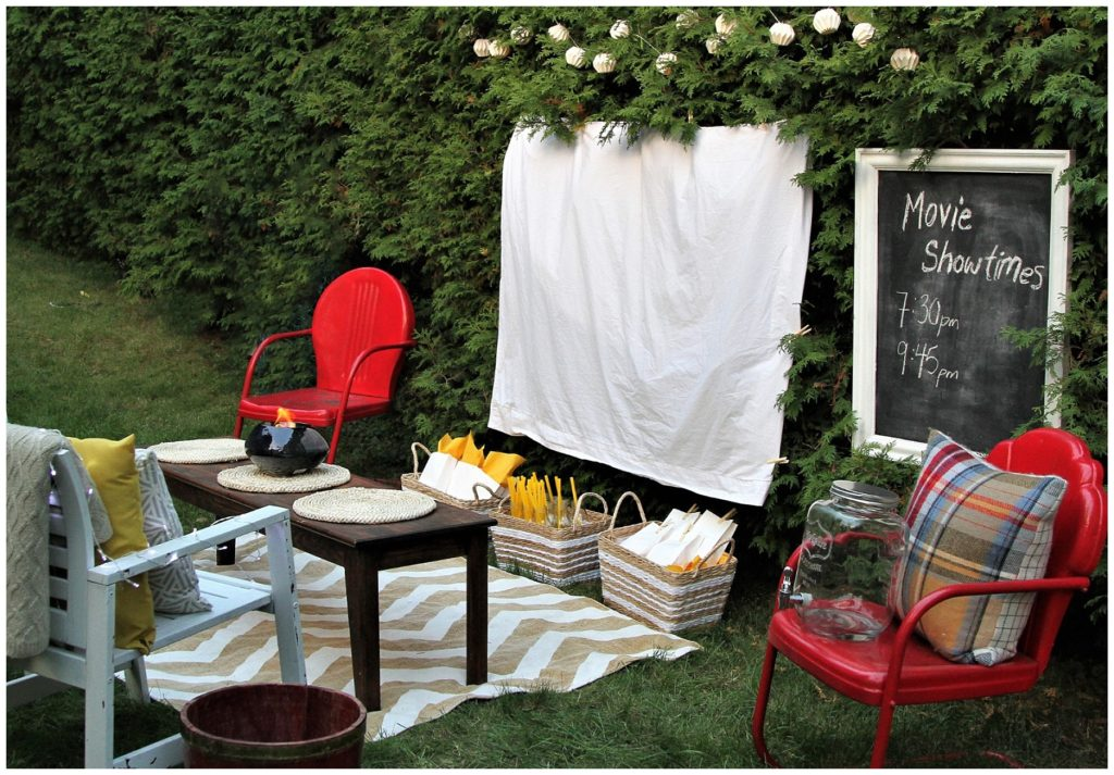 Outdoor movie night with home made screen