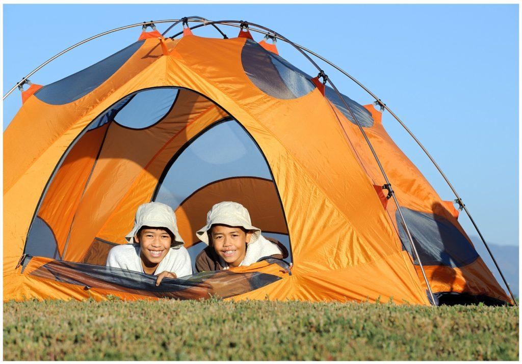 Kids Camping in Orange Tent