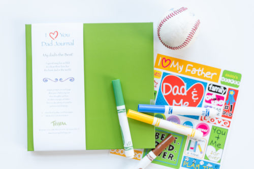 Green I Love You Dad Kids Journal with baseball, sticker sheet, and markers
