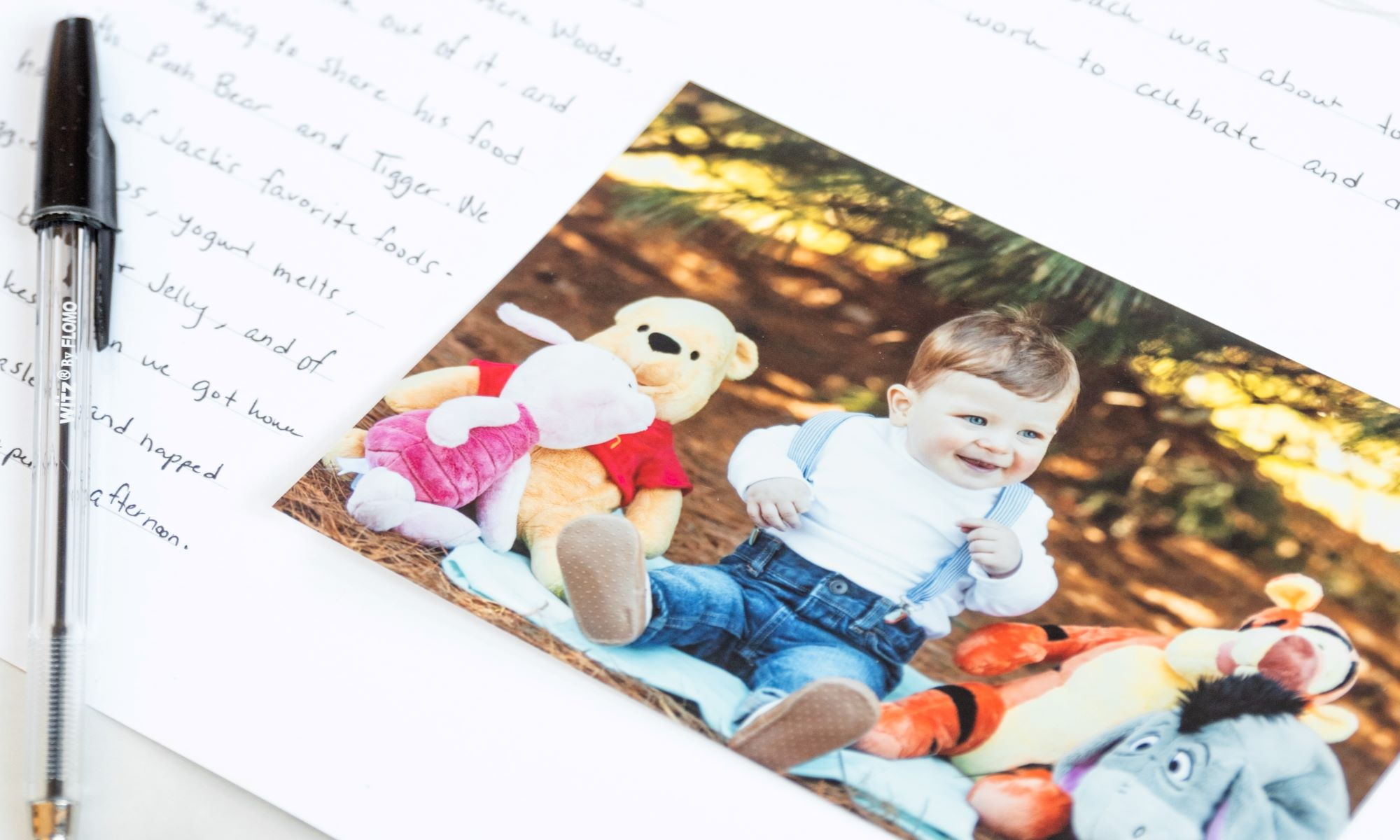 Favorite Memories Additional Insert Page with photo of toddler playing with winnie the pooh characters
