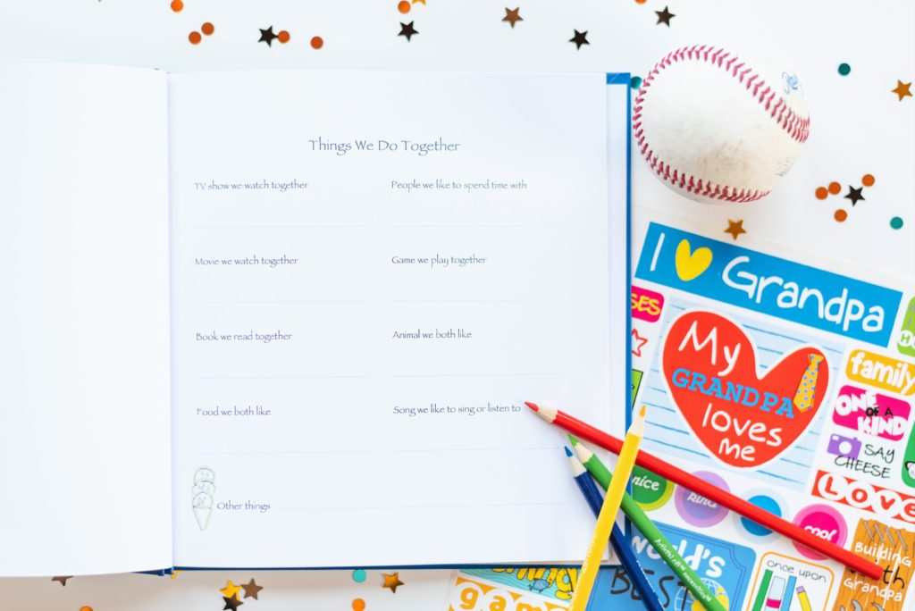 I Love You Grandpa Kids Journal with Open Page and Sticker Sheet styled with Baseball