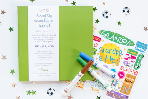 Green about my grandfather kids journal with sticker sheet and props