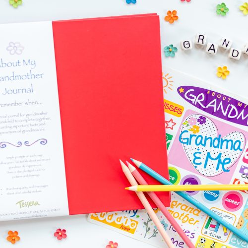 Red About My Grandmother Kids Journal with Sticker Sheet and Props