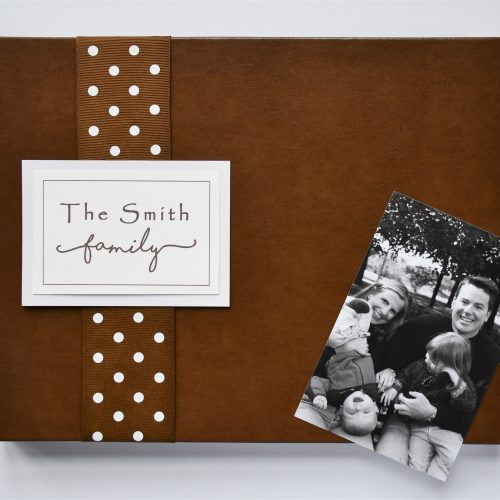 Brown leather family memory book
