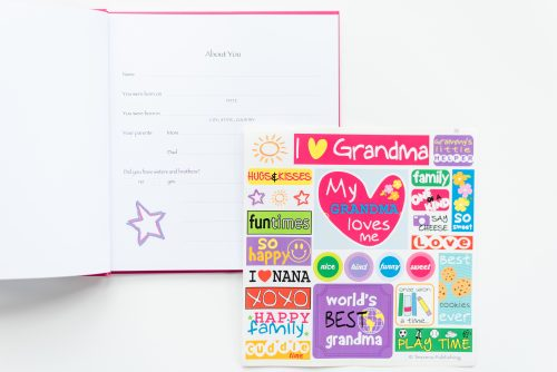 I love my grandma kids journal with open page and sticker sheet included