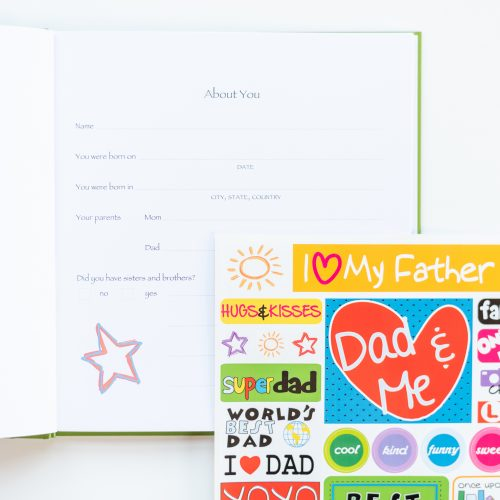 I love you dad kids journal with open page and sticker sheet included