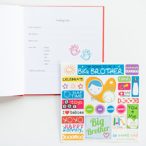 red I'm going to be a big brother kids journal with open page and sticker sheet
