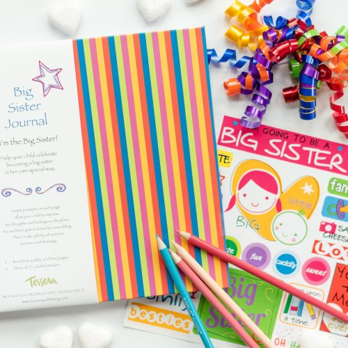 striped I'm going to be a big sister kids journal with sticker sheet included