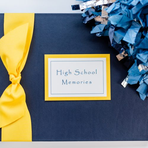 Marine Cover High School Memory Book with Yellow Grosgrain Bow and Plaque with Pom Pom Prop