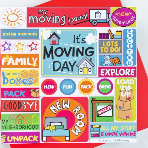 Kids moving journal red cover with sticker sheet included