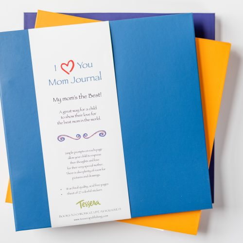I love you mom blue kids journal stacked on two more kids journals