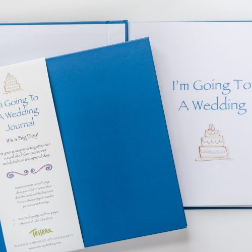 Blue Kids Journal I'm going to a wedding with white descriptive belly band